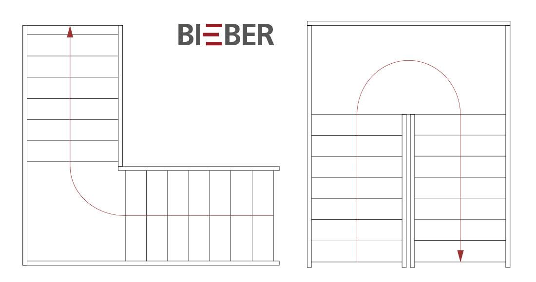 Grundriss Podesttreppen Viertelpodest, Halbpodest, Tischlerei Treppenbau Gunter Bieber