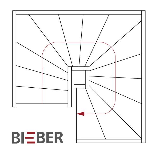 Grundriss dreiviertel gewendelte Treppe, Tischlerei Treppenbau Gunter Bieber