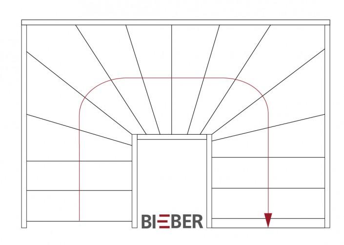 Grundriss halbgewendelte Treppe, Tischlerei Treppenbau Gunter Bieber
